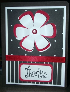 Thanks - Black White Red - Flower and Dots - Front