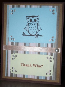 Thanks - Brown and Blue - Owl Thank Who - Front