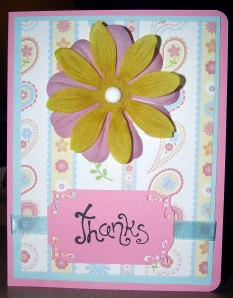 Thanks - Pink Blue Yellow - Flower and Paisley - Front
