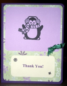 Thanks - Purple and Green - Penguin Warm Heart - Front